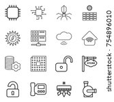 thin line icon set   chip ... | Shutterstock .eps vector #754896010