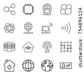 thin line icon set   share ... | Shutterstock .eps vector #754896124