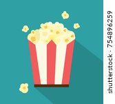 vector flat popcorn illustration | Shutterstock .eps vector #754896259