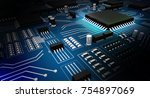 high tech electronic with... | Shutterstock . vector #754897069