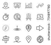 thin line icon set   pointer ... | Shutterstock .eps vector #754897780