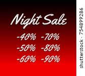 banner. night sale with percent ... | Shutterstock .eps vector #754899286