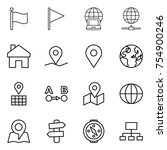 thin line icon set   flag ... | Shutterstock .eps vector #754900246