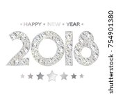 2018 numbers for new year... | Shutterstock .eps vector #754901380