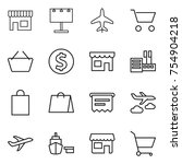 thin line icon set   shop ... | Shutterstock .eps vector #754904218