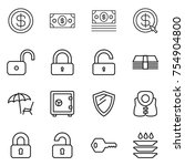 thin line icon set   dollar ... | Shutterstock .eps vector #754904800