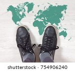 black sneakers standing on a