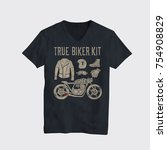 motorcycle themed t shirt... | Shutterstock .eps vector #754908829