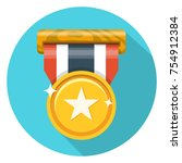 medal flat icon | Shutterstock .eps vector #754912384