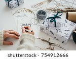 christmas or new year gift... | Shutterstock . vector #754912666