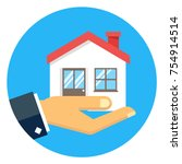 hand holding house icon. | Shutterstock .eps vector #754914514