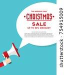 santa claus's hand holding... | Shutterstock .eps vector #754915009
