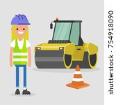 young female engineer wearing... | Shutterstock .eps vector #754918090