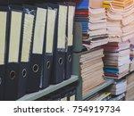 many folder and files folder... | Shutterstock . vector #754919734