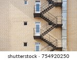 fire escape stairs on the...   Shutterstock . vector #754920250