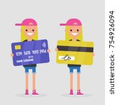 personal finances. bank account.... | Shutterstock .eps vector #754926094