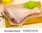 raw turkey leg ready for cooking | Shutterstock . vector #754927270