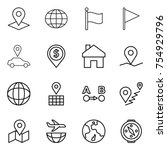 thin line icon set   pointer ... | Shutterstock .eps vector #754929796