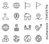 thin line icon set   pointer ... | Shutterstock .eps vector #754929796