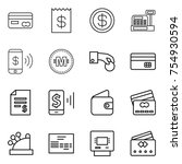 thin line icon set   card ... | Shutterstock .eps vector #754930594