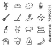 thin line icon set   windmill ...   Shutterstock .eps vector #754930744