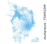 broken polygonal wireframe... | Shutterstock .eps vector #754931599