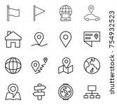 thin line icon set   flag ... | Shutterstock .eps vector #754932523