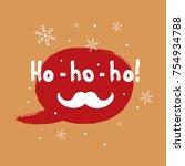 square christmas card. speech... | Shutterstock .eps vector #754934788