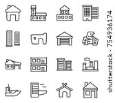 thin line icon set   home ... | Shutterstock .eps vector #754936174