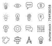 thin line icon set   bulb  eye  ... | Shutterstock .eps vector #754938358