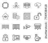 thin line icon set   chip ... | Shutterstock .eps vector #754938418