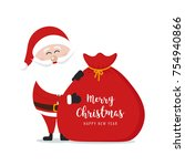 santa claus hold sack merry... | Shutterstock .eps vector #754940866