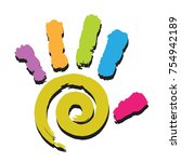 illustration colorful hand... | Shutterstock . vector #754942189