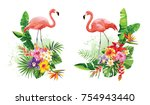 tropical summer arrangements... | Shutterstock .eps vector #754943440