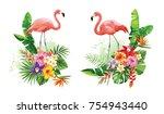 tropical summer arrangements... | Shutterstock .eps vector #754943440