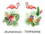 tropical summer arrangements... | Shutterstock .eps vector #754943446