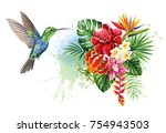 Stock vector tropical summer arrangements with humming bird palm leaves exotic flowers and butterflies 754943503