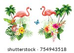 tropical summer arrangements... | Shutterstock .eps vector #754943518
