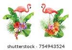 tropical summer arrangements... | Shutterstock .eps vector #754943524