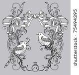 lovely bird card   Shutterstock .eps vector #75494395