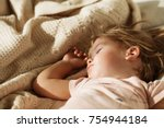sleeping little girl. carefree... | Shutterstock . vector #754944184