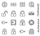 thin line icon set   dollar ... | Shutterstock .eps vector #754944430