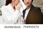 business woman have secret .... | Shutterstock . vector #754945273