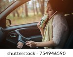 busy woman is in a hurry  she... | Shutterstock . vector #754946590