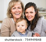 grandmother  mother and baby boy | Shutterstock . vector #754949848