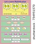 let's learn multiplication ... | Shutterstock .eps vector #754951570