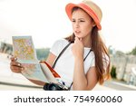 young woman solo traveler... | Shutterstock . vector #754960060