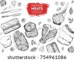 meat top view frame. vector... | Shutterstock .eps vector #754961086