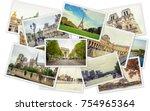 collage france paris. selective ... | Shutterstock . vector #754965364