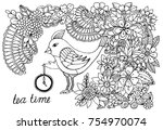 bird and doodle flower pattern. ... | Shutterstock . vector #754970074